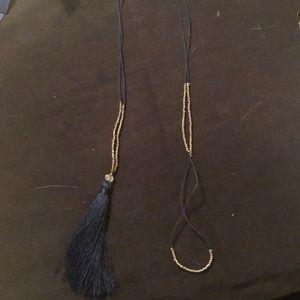 "18"" long blue tassel necklace silver beads"